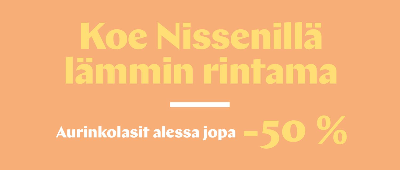 Koe Nissenillä lämmin rintama Aurinkolasit alessa jopa -50 %