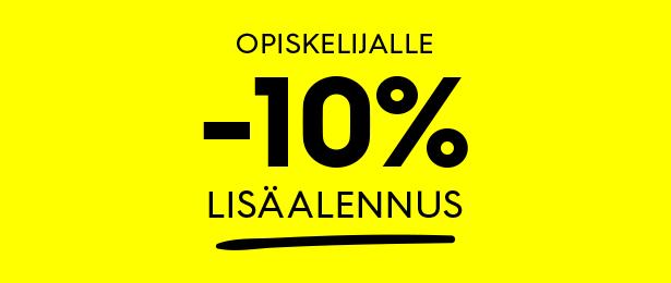 Opiskelijalle -10 % lisäalennus