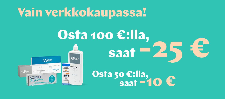 Verkkokaupassa: Osta yli 50€, saat -10€; osta yli 100€, saat -25€