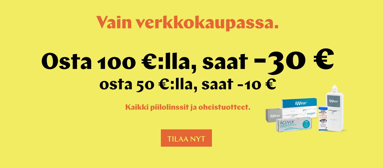 verkkokaupassa: osta 50 € saat -10€, osta 100 € saat -30 €