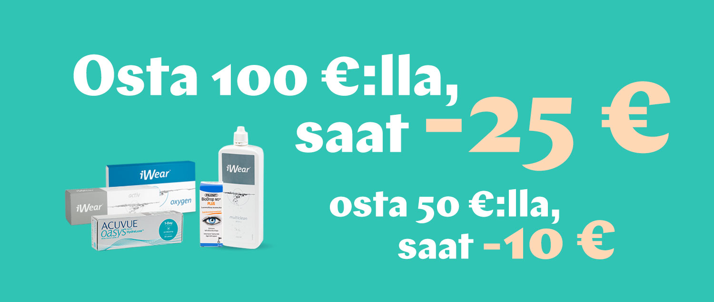 Osta yli 50€, saat -10€; osta yli 100€, saat -25€