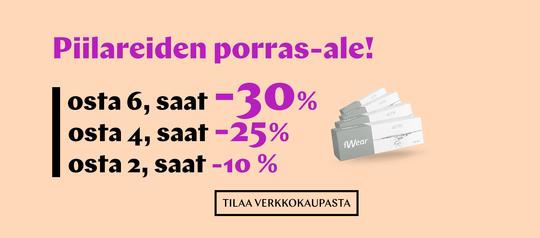 Kaikki piilarit: osta 2 saat -10 %; osta 4, saat -25%; osta 6, saat -30 %